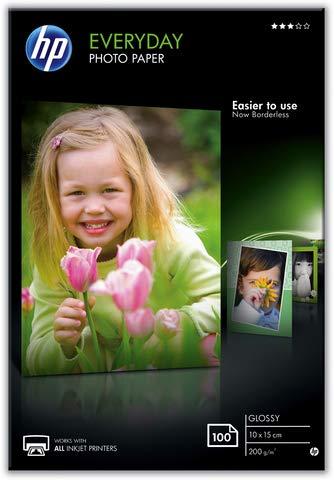 HP Inkjetpapier Everyday Photo Paper, 10 x 15 cm, 200 g/m², weiß, glänzend (100 Blatt), Sie erhalten 1 Packung á 100 Blatt