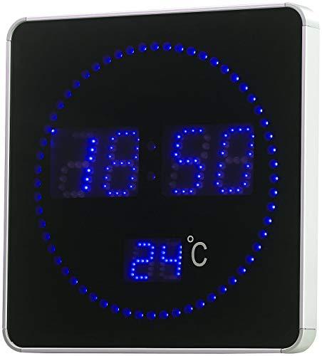 Lunartec LED Funk Wanduhr, Sekunden Lauflicht, Temperaturanzeige, Blaue LEDs