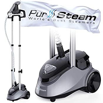 PurSteam Garment Steamer Professional Heavy Duty Industry Leading 2.5 Liter  85 fl.oz  Water Tank 60+min of Continuous Steam with 4 Level Steam Adjustment