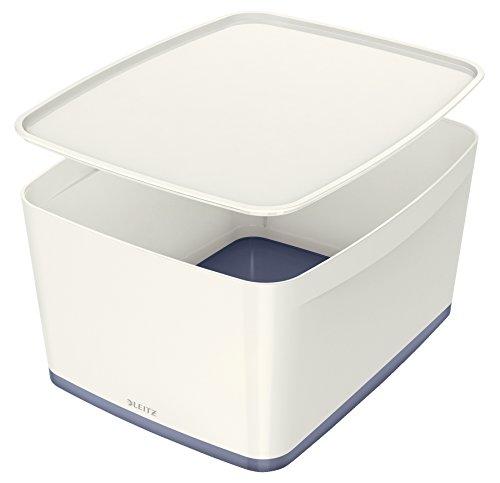 Leitz MyBox, Aufbewahrungsbox mit Deckel, Groß, Blickdicht, Weiß, Kunststoff, 52164001