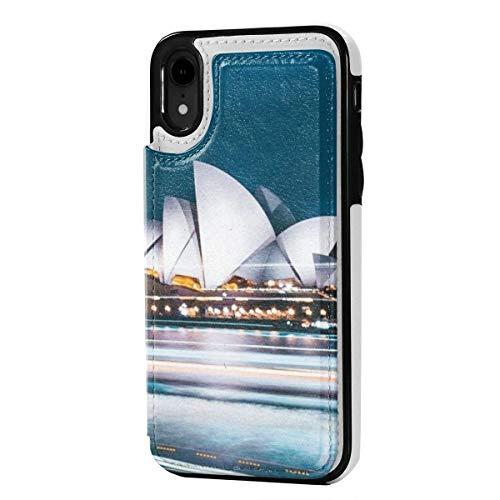 MoMo iPhone XR Fall australische Stadt Sydney Leder Kreditkarte-Schlitz-Halter Soft-Closure-Schutzüberzug