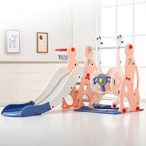 SSZZ Juego De Columpio Y Escalador De Tobogán 4 En 1 para Niños Pequeños Juguete De Combinación Multifuncional para Interiores Tobogán Independiente Parque Infantil Centro De Actividades,Rosado