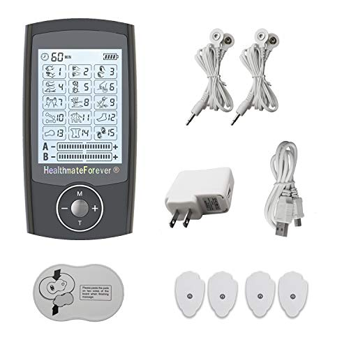 2nd Edition 15 Modes Best Muscle Simulator TENS Unit Machines Electric Electronic Pulse Massagers for Back Neck Shoulder Knee Legs Body Pain Relief 2 Year Warranty HealthmateForever Pro15AB (Black)