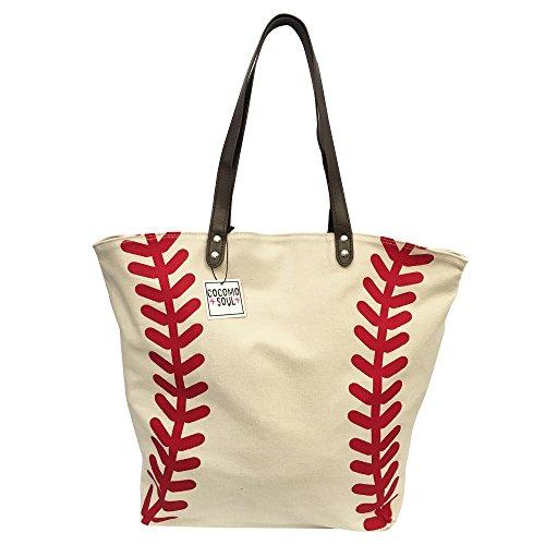 Baseball Canvas Tote Bag Handbag Large Oversize Shopping Bag Travel Bag Baseball Purse Sports Bag 20 x 17 Inches Cocomo Soul