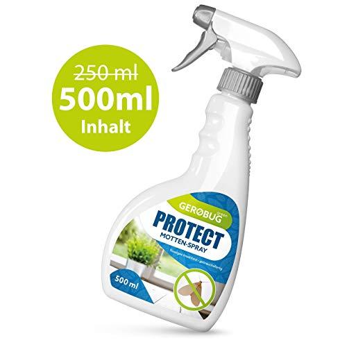 Gerobug 500ml Protect Mottenspray - Einfache Mottenbekämpfung für Lebensmittelmotten & Kleidermotten - Mottenschutz für Kleiderschrank, Kleider, Teppich & Küche geeignet