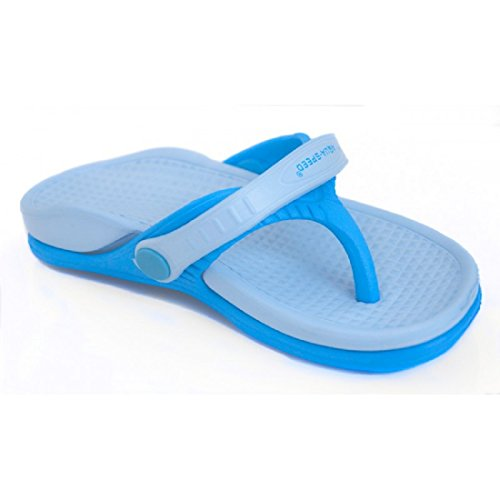 Aqua Speed Roma, sandali da bagno, con struttura antiscivolo, per piscina, con passante di fissaggio, 2 modelli di colori, rosa e blu, Unisex - Bambini, Colore: 01 blu, 25 EU