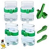 Mengger 4Pcs Comedero de pájaros Exterior dispensadora de Agua automático Jaula dispensadora de pájaros alimentador de Agua Bebedero automático Parrot dispensador con 4PCS Cucharas de pájaros