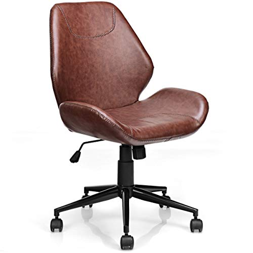 Giantex Home Office Leisure Chair Ergonomic Mid-Back PU Leather Armless Chair Upholstered with 5...