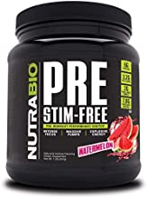 NutraBio PRE Stim Free – Caffeine Free Pre Workout Powder - Sustained Energy, Mental Focus, Endurance - Clinically Dosed Formula - Beta Alanine, Creatine - Watermelon