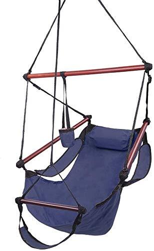 Hängesessel Tragbarer Hängemattenstuhl mit Fußstütze, hängendem Seil Swing Patio Yard Sky Chair für den Außenbereich im Freien (Color : Blue)