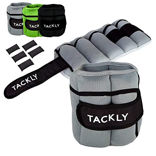 TACKLY Pesas para Tobillos y muñecas 1 a 4 kg Convertibles con Banda Reflectante- Tobilleras con Peso - Lastres Tobillos Pesas para piernas (Gris)