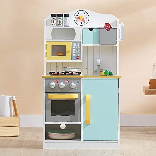 Teamson Kids Florence Kinderküche Spielküche Holz Mit 5 Zubehörteile Für Jungen Und Mädchen TD-11708AR