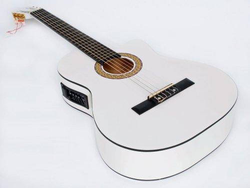Cherrystone 4260180887068 4/4 4 Band Klassik Gitarre mit Tonabnehmer EQ weiß