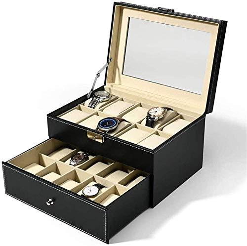 Caja de reloj de joyería Caja de reloj de 2 capas de piel sintética de almacenamiento vitrina de relojes, organizador de gemelos con cerradura y cristal superior (negro)