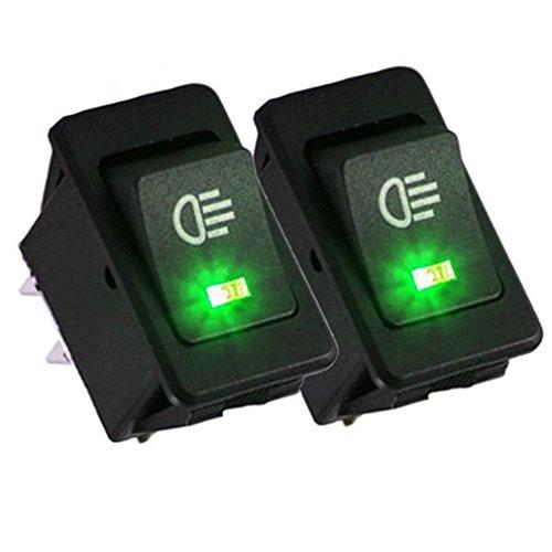 Qiorange Auto 35A 12V KFZ Schalter wasserdicht beleuchtet LED Grün 4 Polig Wechsel Switch Kippenschalter Wippschalter EIN-/Ausschalter für Nebelscheinwerfer Scheinwerfer