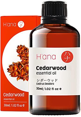 Hana Ätherisches Zedernholz Öl (30ml) - 100% rein und zur therapeutischen Anwendung, zur Behandlung der Haut und für den Aroma Diffusor