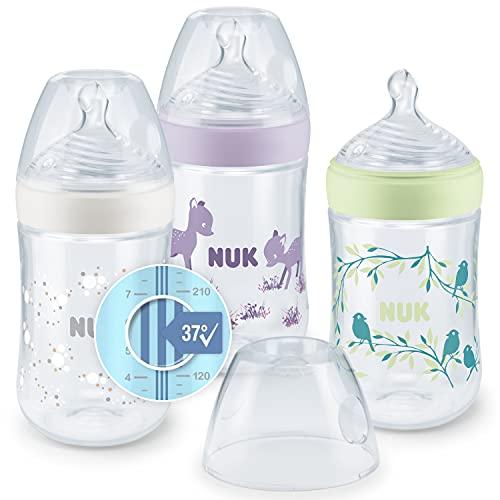 NUK Nature Sense Babyflaschenset | 0–6Monate | 3Flaschen mit Temperature Control Anzeige | 260ml | Gibt gestillten Babys ein natürliches Trinkgefühl | Anti-Kolik-Ventil | BPA-frei | Rosa | 3 Stück