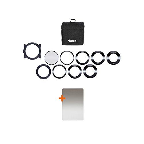 Rollei Mark II Filterhalter Starter Kit I Steckfiltersystem für 100mm Rechteckfilter, inkl Soft GND8 & CPL Filter, Objektivadapter 52 – 82mm, Filtertasche