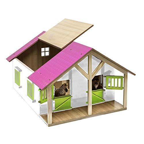 Van Manen 610168 - Kids Globe Farming Pferdestall Holz, 1:24 - mit 2 Boxen, Werkstatt; Dach+Türen beweglich, Farbe pink