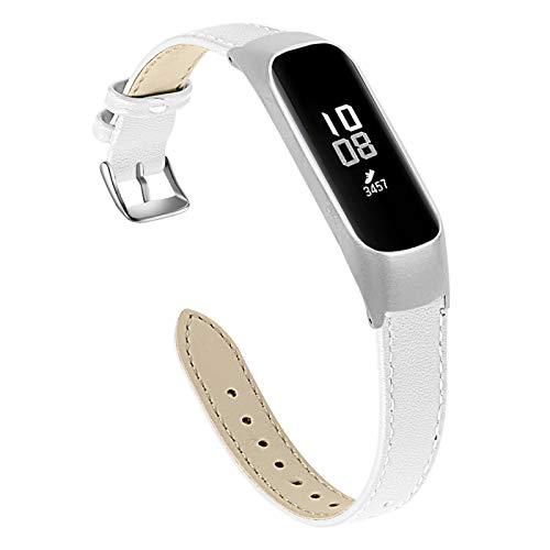 BFISOD Correa para Galaxy Fit Correa Delgada para Reloj de Repuesto de Cuero Genuino de 5.5'-8.0' Correa Ajustable para Accesorios Compatible con Samsung Galaxy Fit E SM-R375 (A02)