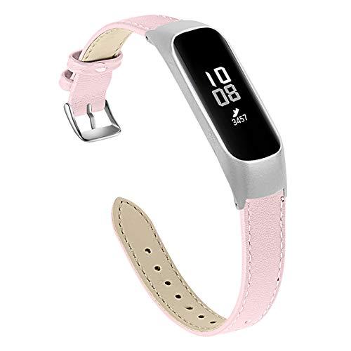 TechCode Compatible con Samsung Fit E R375 Band, Slim Banda de Repuesto de Cuero Genuino Correa de muñeca Ajustable Accesorios de Pulsera para Samsung Galaxy Fit-e SM-R375 (Rosa)