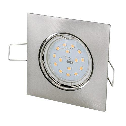 Spot encastrable carré   brossé   35 ° orientable   230 V LED GU10 5 W blanc froid 6000 Kelvin 460lumen   Douille de lampe avec câble de raccordement inclus
