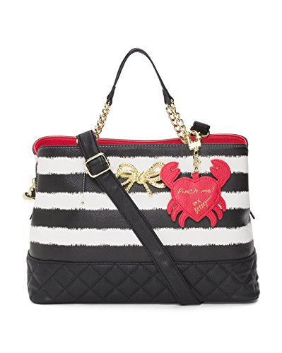 """Multi Compartment Shopper Bag with Magnetic Snap Closure. Striped faux leather satchel accented with a large Red lobster that says """"PINCH ME!"""" on the back. Open interior with black/pink floral polyester lining. Three separate compartments, Large zip ..."""