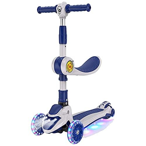 SOPHM5 Patinete Freestyle Scooter Infantil con Asiento móvil, 3 Ruedas de luz LED, Tablero de pie Grande y Scooter Plegable Ajustable en Altura, Adecuado para niños de 2 a 12 años (Color : A)