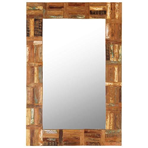 yorten Specchio da Parete Specchio Bagno Specchio Camera da Letto in Legno Massello di Recupero 60x90 cm