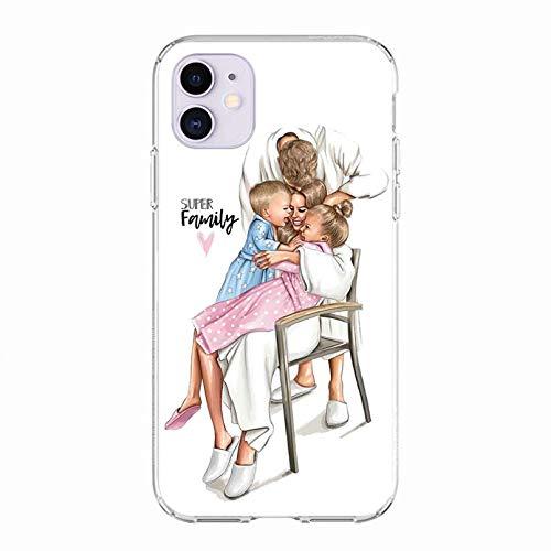 KBFHD Funda de teléfono para iPhone 11 Funda para iPhone XR 11 Pro 7 X XS MAX 8 6 6S Plus 5S SE Silicona TPU Super mamá