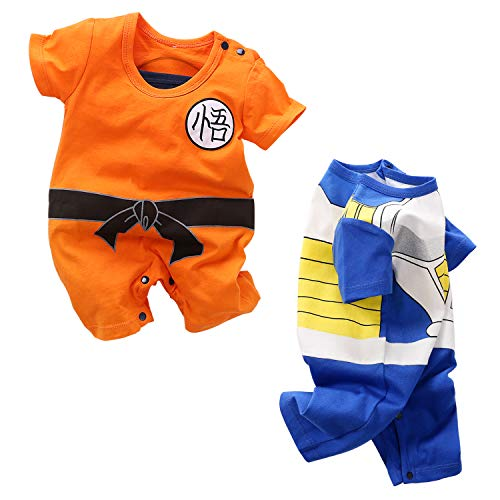 YFYBaby Baby Boys Girls' 2 Pack Short Sleeve Romper - Dragon Ball Z,One Piece,Naruto,Goku,Vegeta Orange/Blue, 59(0-3Months)