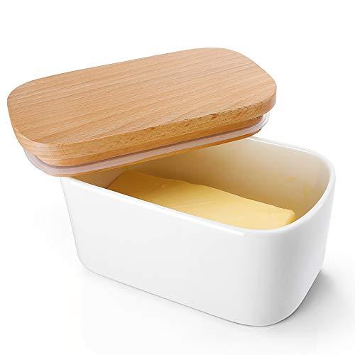 Sweese Beurrier avec couvercle, en porcelaine haute qualité et couvercle en bois avec joint en silicone Grand format Blanc.