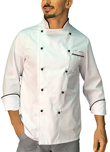 tessile astorino Giacca Cuoco/Chef Basic Bianca con Profili Neri, Made in Italy