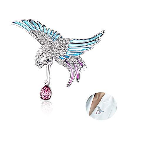 MLSJM Dames Broche Pin, Luxe Romantische Elfje Kraan Crystal Brooches, Kostuum Accessoires Badge Pin Naald, Prachtige Kerst Pin Geschenken