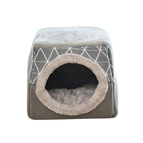 UNSKAM Hundebetten Katzenhöhle für Kleine Katzen 2 in 1 Faltbares Katzenhaus Haustierbett Gemütlich Atmungsaktiv,Grau,L