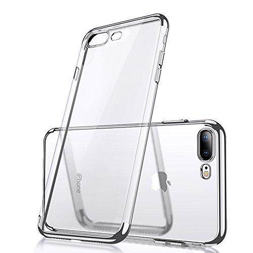 YFZYT Extremadamente Protector Case, Marco Chapado Crystal Clear Contraportada TPU Ultra Delgada Estuche Protector Gel Goma Flexible para 5.5' Apple iPhone 7 Plus/8 Plus, Plata