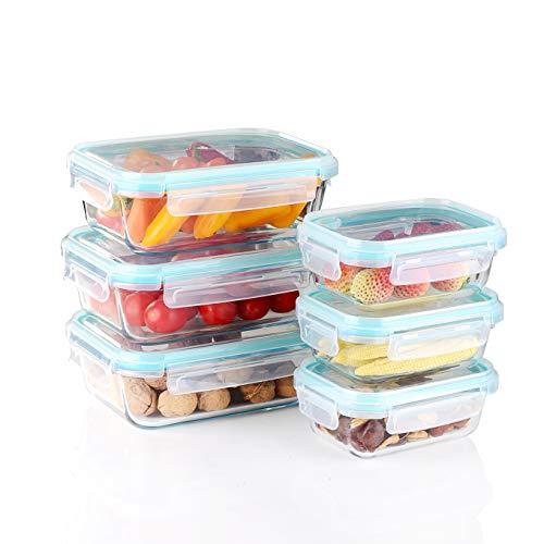 Amisglass Set di Contenitori per Alimenti in Vetro, 6 Pezzi Set Contenitore Alimenti con Coperchi Trasparenti Ermetico, Senza BPA, per Cucina o Ristorante, Pasti o Alimenti - 400 ml, 900 ml