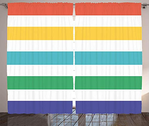 FAFANIQ Striped Curtains, Rainbow Colored and White Fun Horizontal Lines Kids Room Red Yellow Blue Green Art, Living Room Bedroom Window Drapes 2 Panel Set, Rainbow Colors,57 * 47 Inch