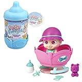 Baby Buppies - Biberón sorpresa y Cuna bebé juguete con Complementos bebé, biberón, sonajero, chupete, mascota, guía de cuidados, pegatinas, certificado de nacimiento Juguetes niños 3 años