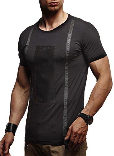 Leif Nelson Herren Sommer T-Shirt Rundhals-Ausschnitt Slim Fit Baumwolle-Anteil Moderner Männer T-Shirt Crew Neck Hoodie-Sweatshirt Kurzarm lang LN1115 Schwarz Large