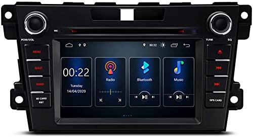 7 pulgadas Android 10 Car Stereo Bluetooth Navegación GPS Auto Radio Reproductor de DVD DSP integrado Admite CarAutoPlay Cámara de respaldo RCA completa WiFi OBD2 DVR TPMS para MAZDA CX-7 (2007-2012)