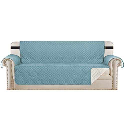 """Reversible Sofa Slipcover Furniture Protector Water Resistant 2 Inch Wide Elastic Straps Sofa Cover Couch Covers Pets Kids Fit Sitting Width Up to 66"""" (Sofa, Stone Blue / Beige)"""
