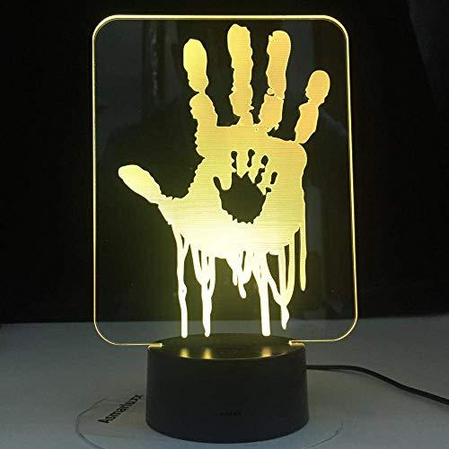 Lámpara LED de ilusión 3D para niños Death Stranding Hand Prints Videojuego Luz de noche LED para decoración de habitación de niños Cool for Child Gamer Nightlight Lámpara de escritorio USB