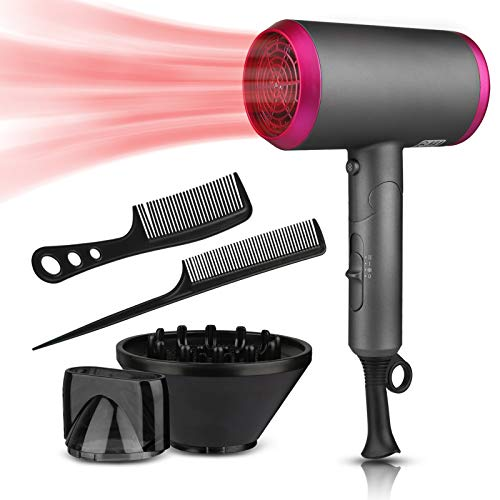 Ionic Hair Dryer, Uplayteck 1800W Portable Lightweight Blow Dryer, Fast Drying Negative Ion Hairdryer, 3 Adjustable Speed, Foldable Blowdryer with Diffuser and Concentrator Nozzle for Home Travel