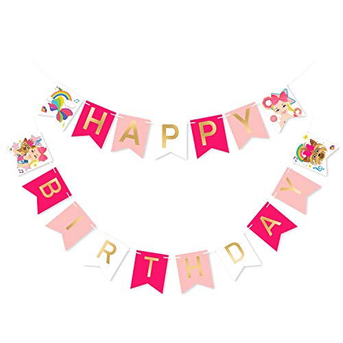 PANTIDE JOJO Happy Birthday Banner with Golden Sparkle Letters, Pink JOJO Themed Birthday Party Decorations, Pre-Assembled Swallowtail Bunting Flag Garland Hanging Decor for Girls Birthday Baby Shower