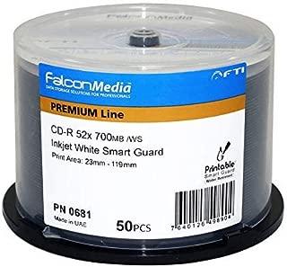 FalconMedia SmartGuard Glossy White Inkjet CD-R - 52x, 700mb/80 Minute, Hub-Printable, Water Resistant - 50 Pack