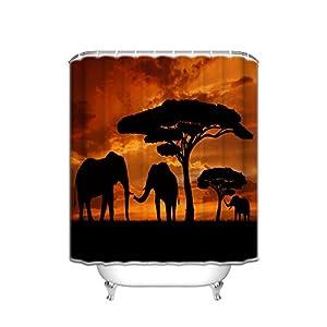 "Vandarllin Mother and Baby African Elephants Bathroom Shower Curtain, Sunset Safari Theme (Orange,Black) (66"" x 72"")"