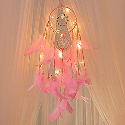 Outsta Handmade Dream Catcher, Feathers Night Light Car Wall Hanging Room Home Decor Best Gift for Children,Bed Room Wall Hanging Decor Ornament Craft (Pink)