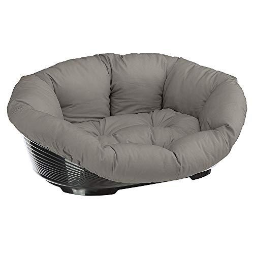 Ferplast 70224099 Kunststoffbett Sofa für Hunde und Katzen mit herausnehmbarem Baumwollbezug, Grau, 64x48x25 cm