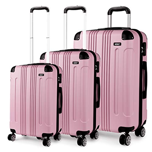 Kono 3 Piece Luggage Sets Light Weight ABS Hardshell 20' 24' 28' Size Suitcases (20'+24'+28', Pink)